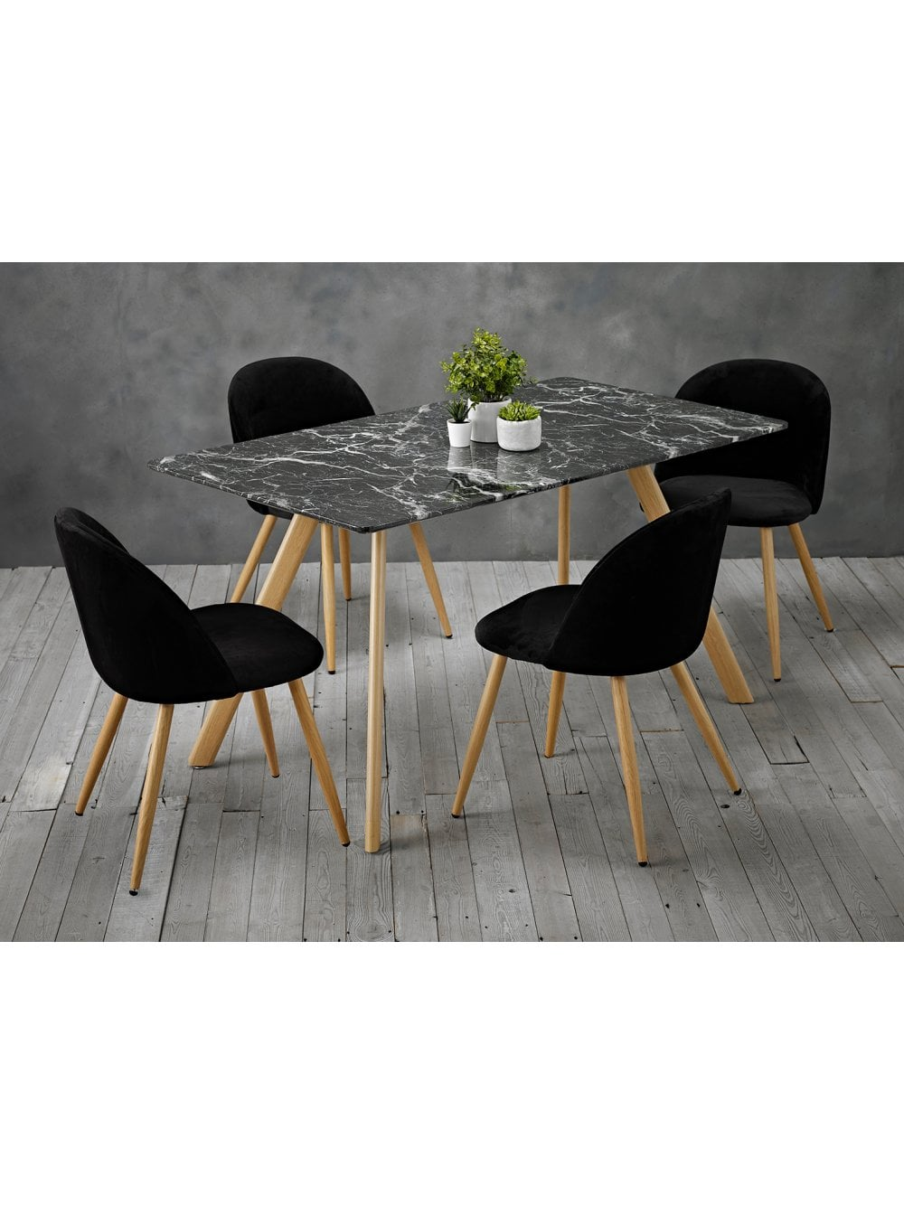 Lpd Furniture Venice Black Dining Table Marble Effect Furniture From The Posh Door Company Uk